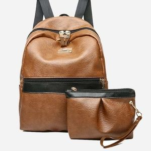 faux leather 2 piece backpack brown